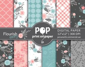 Floral Digital Paper FLOURISH QUARTZ delicate flowers, sweet color combo aqua and rose quartz, pink spring flowers, cute mother's day floral