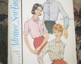 Advance Sew-Easy Pattern #3393, 1960's Blouse Pattern, Three Styles, Size 14, Vintage Sewing, Vintage Clothing