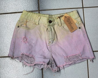 Upcycled Ladies Denim Dyed Shorts  size 8 AUS