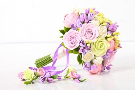 Clay wedding bouquet and boutonniere set, Bridal bouquet, Peonies, Roses, Freesia