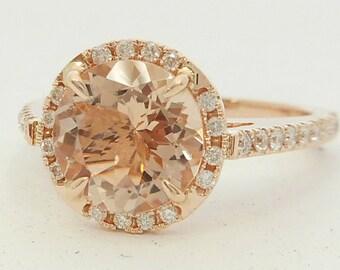 Morganite Engagement Ring(Set) 8.10 mm Round Cut Morganite Ring,14 K. Solid Rose Gold Diamond Wedding Ring(Set) Gemstone Ring Set