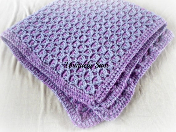 Double Sided Crochet Baby Blanket Pattern : hand crocheted baby blanket Crochet Afghan purple double