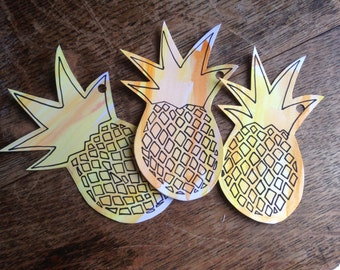 Original hand-painted pineapple gift tags