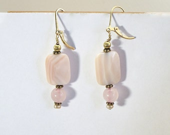 Pink conch shell earrings, dangle earrings, pink and gold, shell earrings, pink shell, shell jewelry,