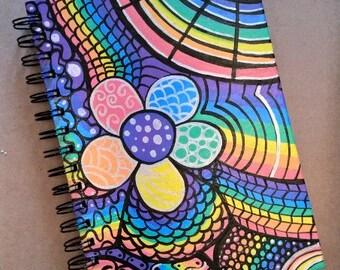 A5 Notebook Flower Power Hippy Hippir Rainbow Bright Multicoloured Retro  Notepad Journal Diary Writing Pad