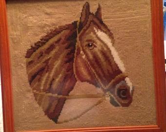 Vintage Framed Horse Needlepoint