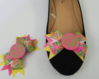 Monogrammed Lily Pulitzer Like Flamingo Shoe Clips