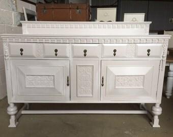 Large vintage oak sideboard buffet kitchen dining storage
