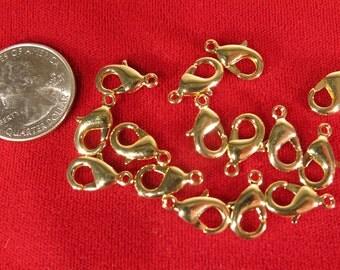 BULK! 50pc 15mm gold style lobster parrot clasps (JC108B)