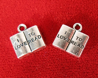 """5pc """"I love to read"""" charms in silver style (BC966)"""