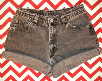 "80's/90's Vintage 967 LEVI'S Gray High-Waisted, Cut-Off and Cuffed, Denim Jean Shorts - Waist 28"" - Size 7/8"