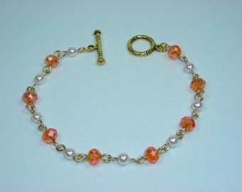 Tangerine Orange Crystal and White Pearl Bracelet