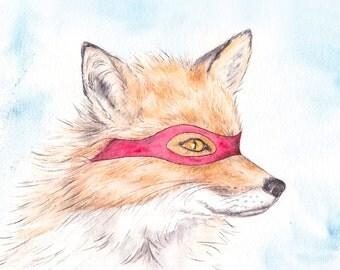 Fly-By-Night Fox // Archival Quality Print, fox, super hero, boys room