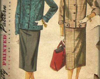Simplicity 4871      Junior/Misses Two-Piece Suit         Size 14       C1950's