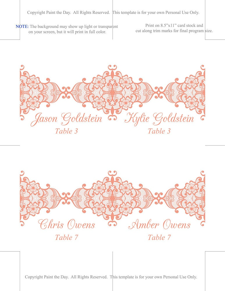 lace wedding place card template fold over escort card