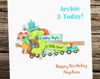 Personalised Birthday Card - Boy - Son Nephew Grandson Godson....Toys... Any age 1st....4th....7th...etc