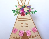 Boho Teepee  / Floral / Cake Topper / Centerpiece