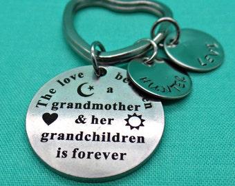 Grandmother and Grandchild Jewelry, Hand Stamped Jewelry, Personalized Grandmother Keychain, Grandma Jewelry, Grandmother Granddaughter