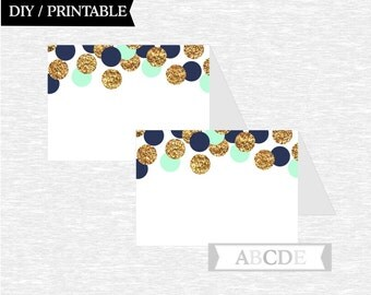 Instant Download Mint Navy Glitter Gold Tented Food Labels Birthday party Baby shower DIY Printable (CON205)
