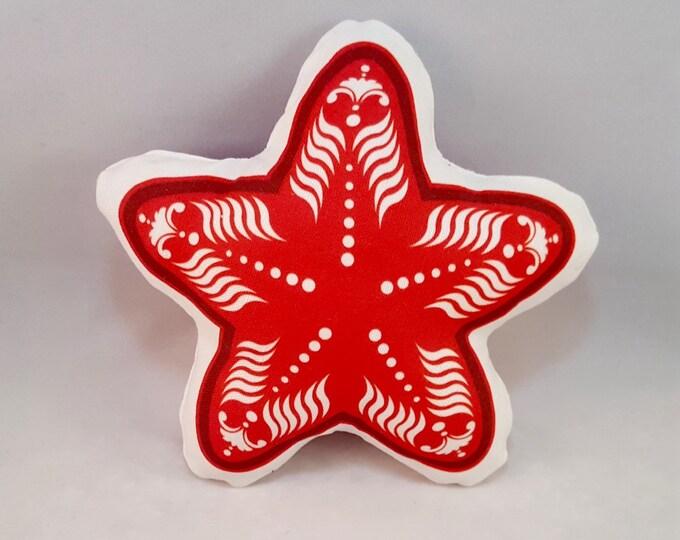 Plush Red Starfish Large Throw Pillow