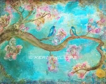Birds Art Print, Birds on a Branch, Bird Art, Zen Tree, Blossoming, Tree, Tree of Life,  Wall Art, Home Decor, Blue, Pink, Birds, Tree, Art
