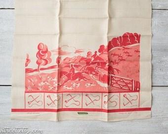 Vintage Kitchen Linen Towel --  Horse Jumping -- Fox Hunting -- Coral Kitchen Decor -- Red Kitchen Decor