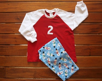 Boys Pajamas, Boys PJ's, Boys sleep wear, Warm soft cotton Flannel and Matching cotton Tee Available in Size 1 size 2 size 3 and size 4