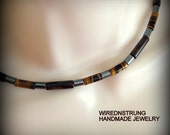 Men's Hematite and Tigers Eye necklace, Gemstone necklace, Gift for him, Men's jewelry, Beaded necklace, Man's necklace, Healing necklace