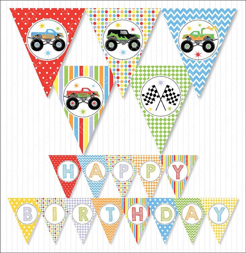 Monster Trucks Party Banners Bunting Flags Monster Truck