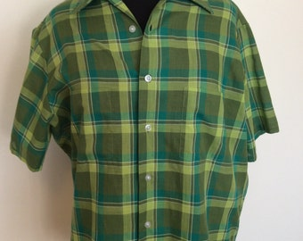 Vintage Green Plaid Shirt - Med