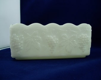 Anchor Hocking Fire King Grapes & Leaves Pattern Milk Glass Rectangle Planter