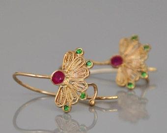 Indian Style Earrings , 14 k Gold Fine Earrings , Ruby Earrings , Dangle Earrings , Fine Jewelry