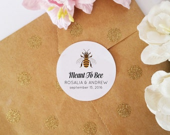 Meant to Bee Stickers, Wedding Stickers, Favor Bag Labels, Customized Stickers for Envelope Sealing, Bridal Stickers, 45 pcs