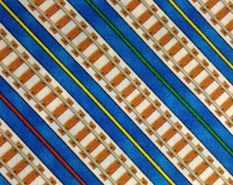 Train track fabric etsy for Train themed fabric