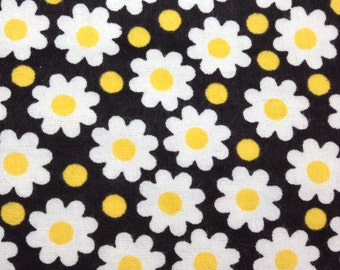 One Half Yard of Fabric Material - Daisies FLANNEL