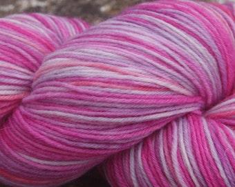 July Pinks #6 - Hand Dyed 4 ply sock yarn 100g - Superwash