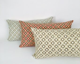 Mid Century Lumbar Pillow Covers, Brown, Rust and Blue, P-12-170