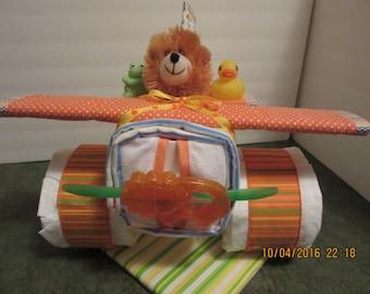 Small Airplane Diaper Cake, Lion Theme Diaper Cake