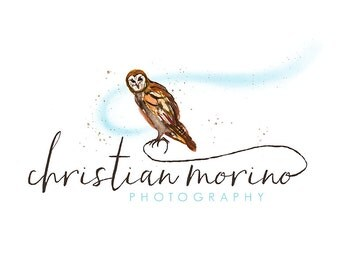 Watercolor Logo - Photography Watermark Business Logo - Bird, Sparrow, Barn Owl, Artistic, Unique, Nature, Simple Design, Short eared owl