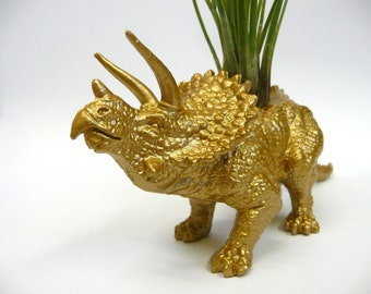Gold Triceratops Dinosaur Planter with Air Plant // Coworker Gift // For Her // For Him