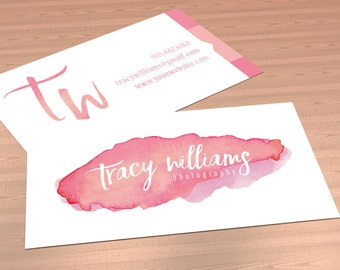 Business Card  - TRACY WILLIAMS - One or Double SIDED Premade business card, photography business card, watercolor, calligraphy