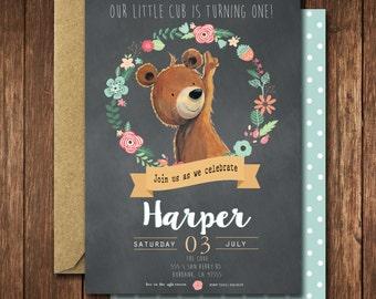 Woodland Birthday Invitation, Bear Birthday Invitation, Fall Birthday Invitation, Printable Invitation, Personalized Invitation