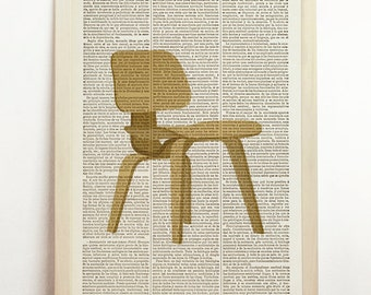 LCW Lounge Chair Wood Poster Charles Eames Print Mid Century Danish Modern Furniture Art Upcycled Decor Art Book Dictionary
