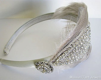 Ivory Art Deco Feather Rhinestone Headband Wedding Fascinator Bridal Headpiece One Size