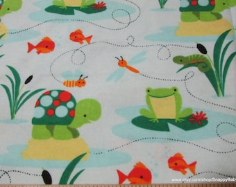 Flannel Fabric - Turtles and Frogs - 1 yard - 100% Cotton Flannel