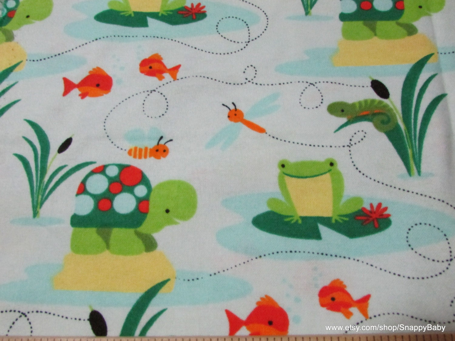 Flannel fabric turtles and frogs by the yard 100 for Flannel fabric
