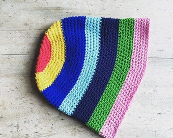 Rainbow Bucket Hat - crochet 100% soft cotton summer hat