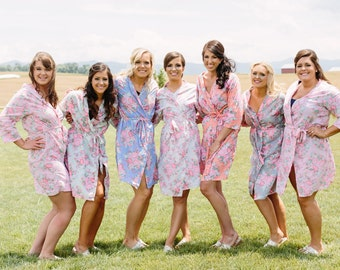 Getting Ready Robes | FREE 2-Day Shipping | Floral Bridesmaid Robes, Cotton Bridesmaid Robes