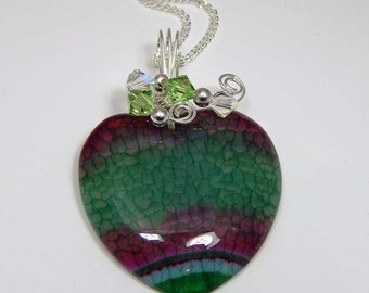 Agate Heart Pendant. Wire Wrapped Agate Heart. Wire Wrapped Agate Pendant. Heart Pendant. Wire Wrapped Pendant.