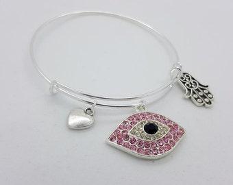 Evil eye silver womens bangle bracelet, evil eye pink bracelet, evil eye and hamsa bangle bracelet, evil eye pink rhinestone bangle bracelet